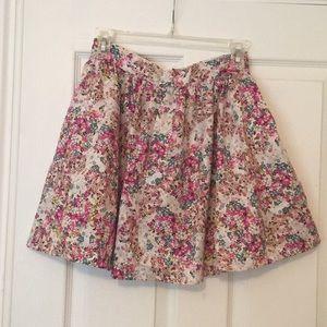 Skater style floral mini skirt